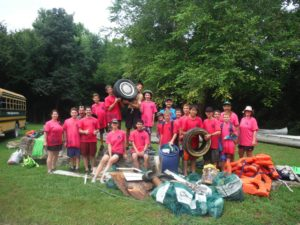 Boy Scout Troop 805 with their collection of trash from Operation Clean Stream 2015